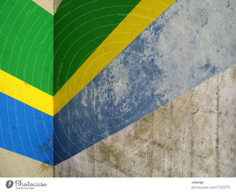 Brazil Architektur Fassade Linie Streifen alt positiv retro blau gelb grau grün Farbe Ecke Brasilien aufwärts Diagramm Hintergrundbild Aufschwung schäbig Fahne
