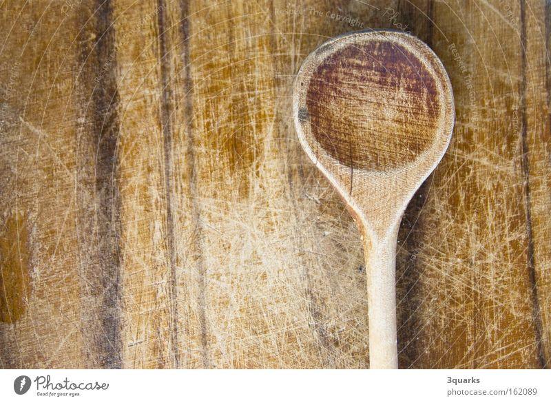 Kochlöffel Ernährung Holz Küche Manuelles Küchengerät Löffel Maserung Oberfläche Strukturen & Formen Holzbrett