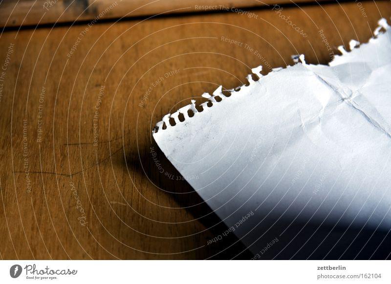 Zettel Papier kaputt Kommunizieren schreiben Schreibtisch Schatten Idee Block Tisch Dreieck Schreibwaren Perforierung