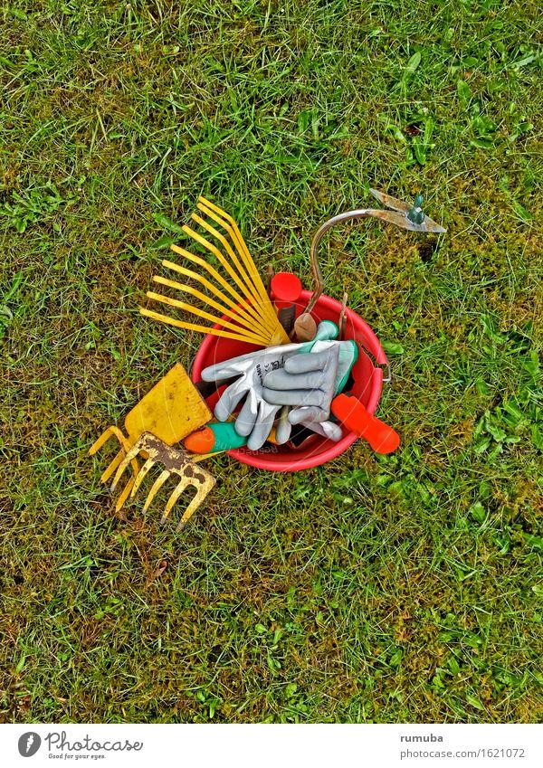 Gartenarbeit Freizeit & Hobby Werkzeug Umwelt Pflanze Wiese Arbeit & Erwerbstätigkeit gelb grün rot Frühlingsgefühle Leidenschaft gehorsam fleißig Wachstum
