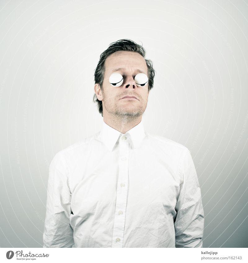 karl dall Mensch Mann weiß ruhig Porträt schlafen Müdigkeit Hemd Comic Siesta Pause Glubschauge Tischtennisball Schlafzimmerblick