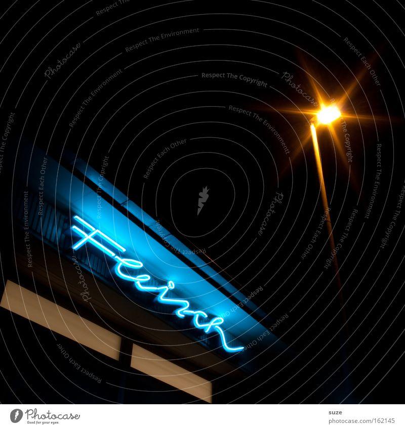 Fastfood Typographie Schriftzeichen Text Nacht Langzeitbelichtung dunkel Laterne Konsum Leuchtreklame Haus Mitternacht offen Fleisch Haushalt frisch retro
