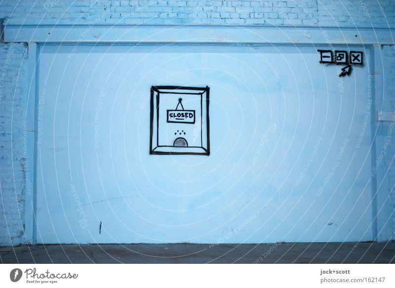 Diese Seite ist zur Zeit leider nicht erreichbar blau schwarz Fenster Wand Mauer Gesundheitswesen Schilder & Markierungen warten Schriftzeichen geschlossen Beton Zukunft Wandel & Veränderung Pause Grafik u. Illustration Netzwerk