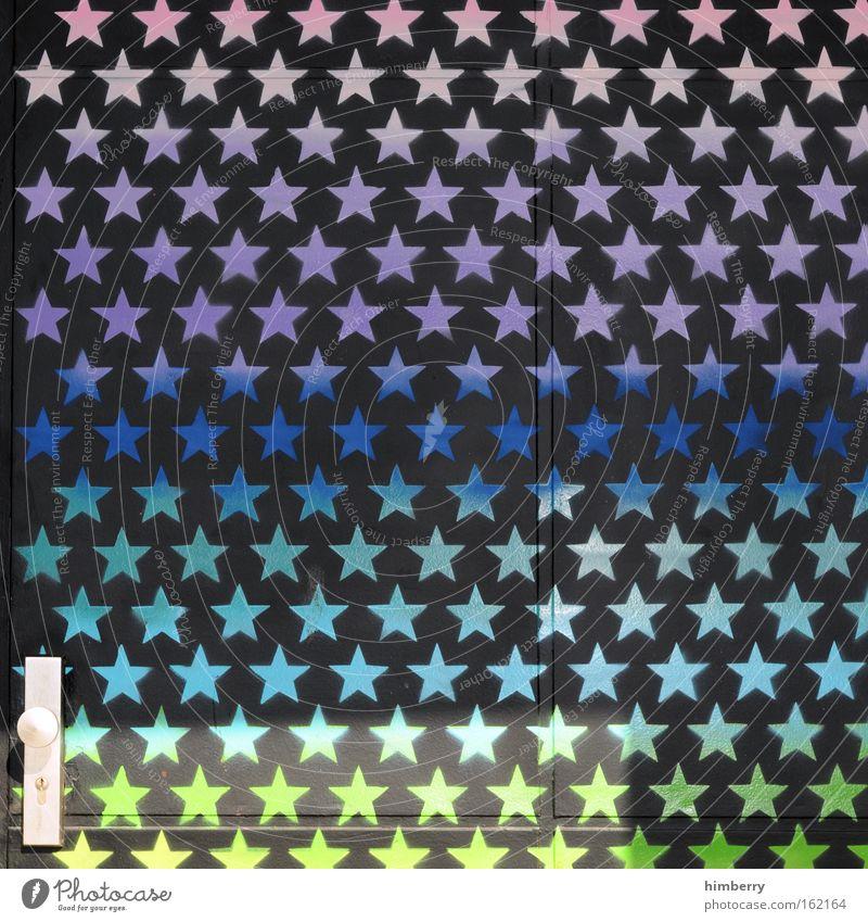 backdoor of stars Haus Farbe Stil träumen Farbstoff Kunst Tür Design Sicherheit Stern (Symbol) Coolness Baustelle Kitsch Show Handwerk Eingang