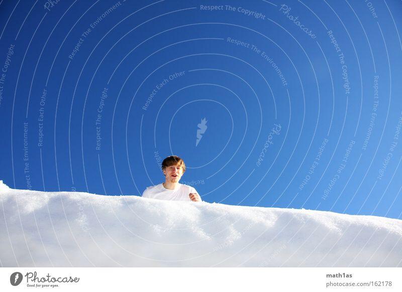 blitzblau 1 Himmel Mann Hand weiß schwarz Schnee Spielen springen Schuhe Ecke fallen Hose anlauf nehmen Wechte