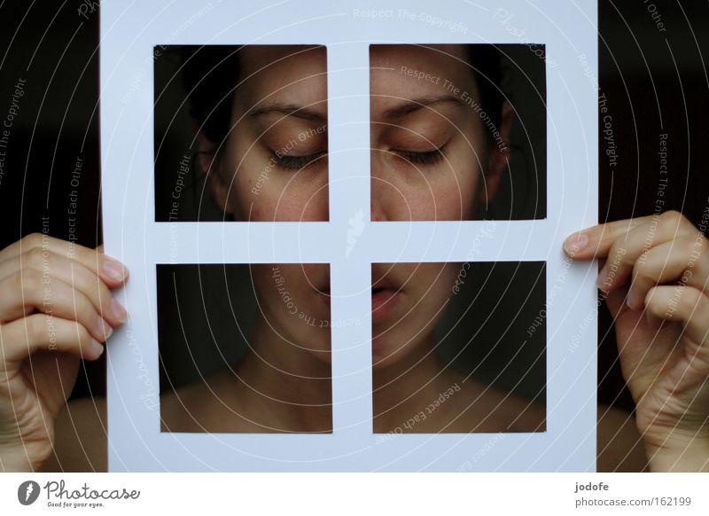 pure Fenster Papier Frau Mensch Gesicht Auge Mund Hand Seele rein schön Menschlichkeit festhalten geschlossene Augen natürlich