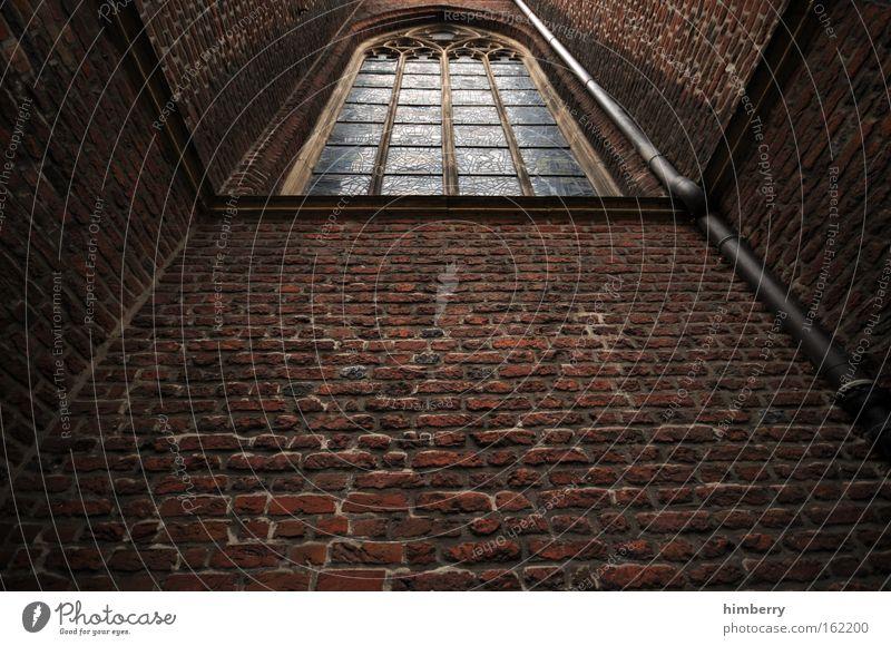 dark vision dunkel Wand Fenster Stein Traurigkeit Mauer Gebäude Religion & Glaube Angst Architektur hoch Kirche bedrohlich Baustelle Kultur