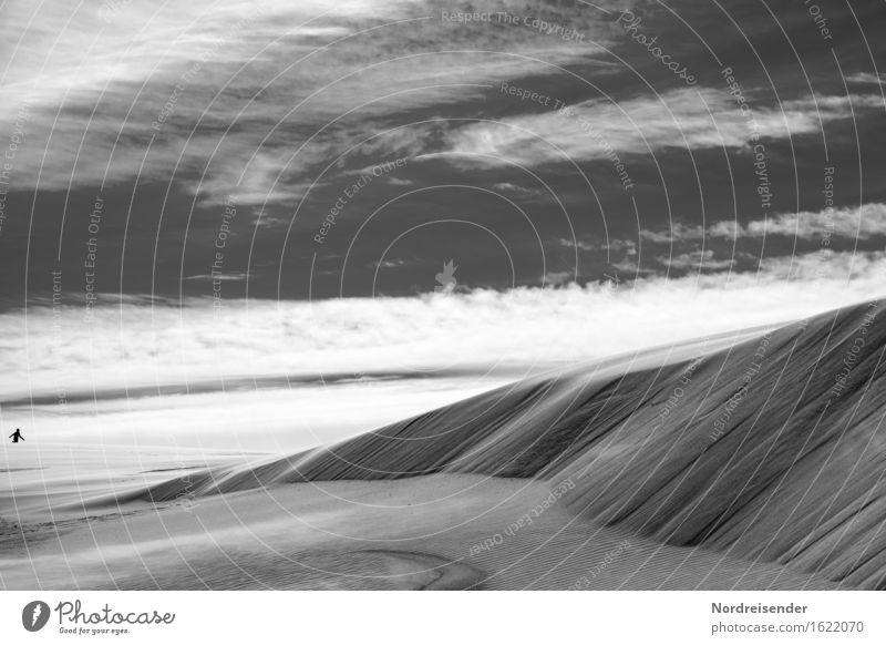 s/w | Planet Erde Abenteuer Ferne Freiheit Zeitmaschine Mensch androgyn 1 Natur Landschaft Urelemente Sand Luft Himmel Wolken Schönes Wetter Wüste laufen