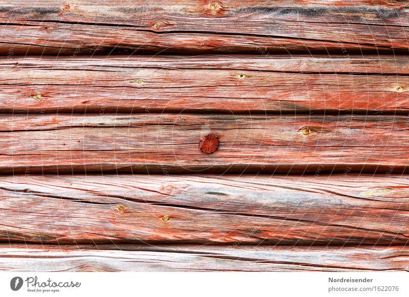 Holzstruktur Handwerk Hütte Gebäude Architektur Fassade Häusliches Leben nachhaltig grau rot authentisch Tradition Riss Strukturen & Formen Holzbrett Balken