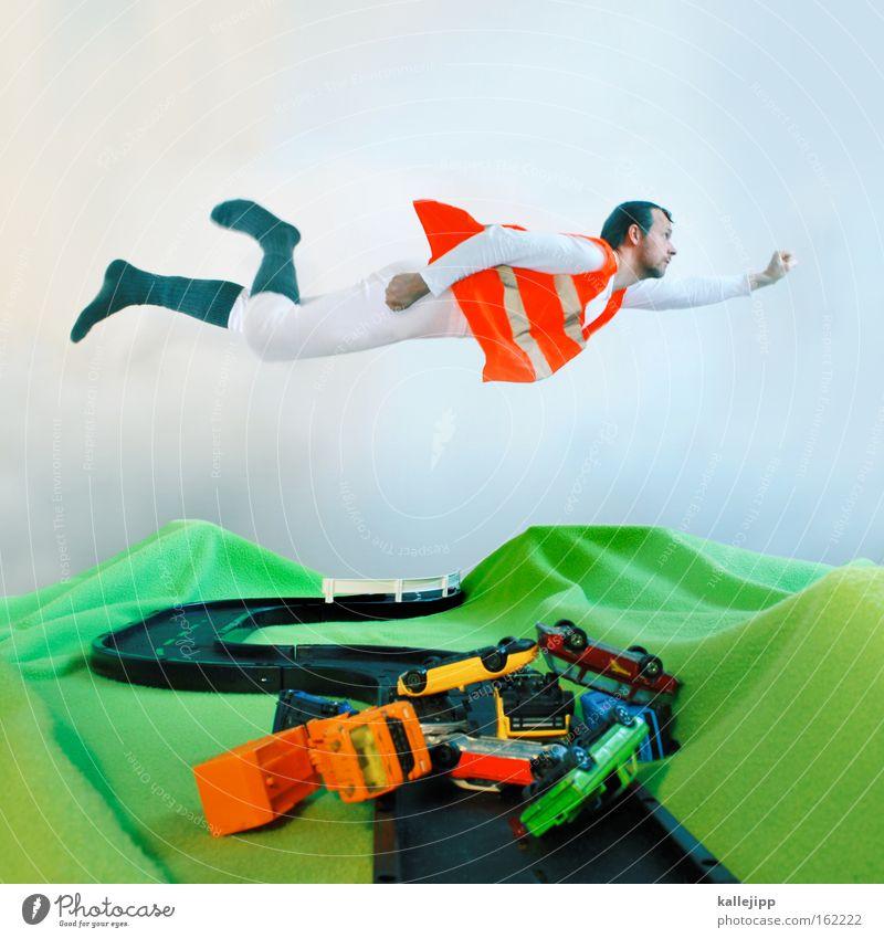 crash test dummy fliegen Luftverkehr Schutzengel gestreift Polizei Verkehrsgebot Verkehrswege Verkehrsschild Rettung Verkehrsunfall Desaster Superman Notfall