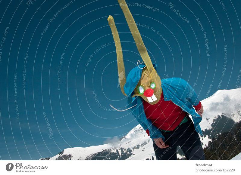 bang bang Schnee Berge u. Gebirge lustig verrückt Ohr Ostern Alpen Maske Schweiz hören Hase & Kaninchen Strumpfhose verkleiden Osterhase