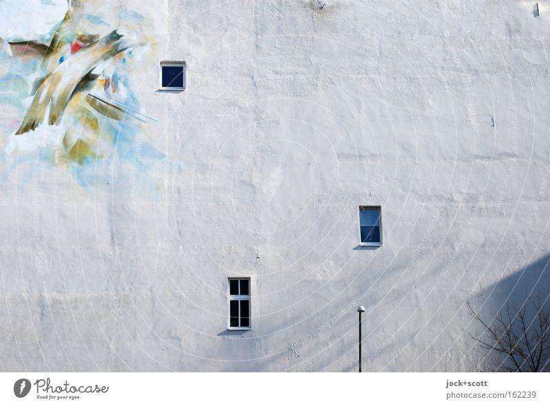 Licht / Schatten weiß Haus schwarz Fenster Architektur grau Häusliches Leben Kraft Zufriedenheit Sträucher groß Kraft Kreativität Zusammenhalt Teilung Sightseeing