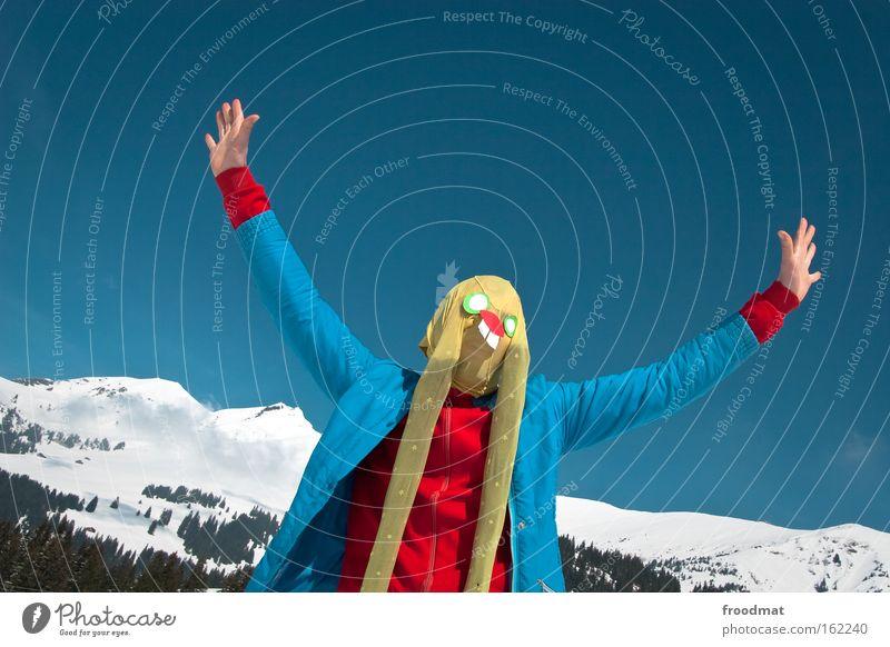 ich komme in frieden Schnee Berge u. Gebirge Kunst lustig verrückt Ostern Ohr Kultur Schweiz Maske Alpen Strumpfhose Mensch Osterhase