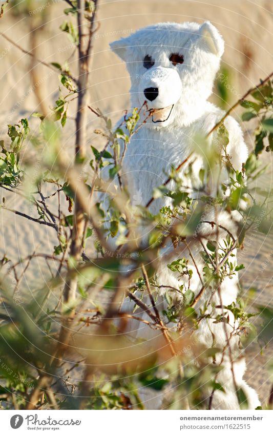 Top Versteck! Kunst ästhetisch Eisbär Sträucher Wüste verstecken Wildnis Kostüm Freude spaßig Spaßvogel Spaßgesellschaft verkleidet Farbfoto mehrfarbig