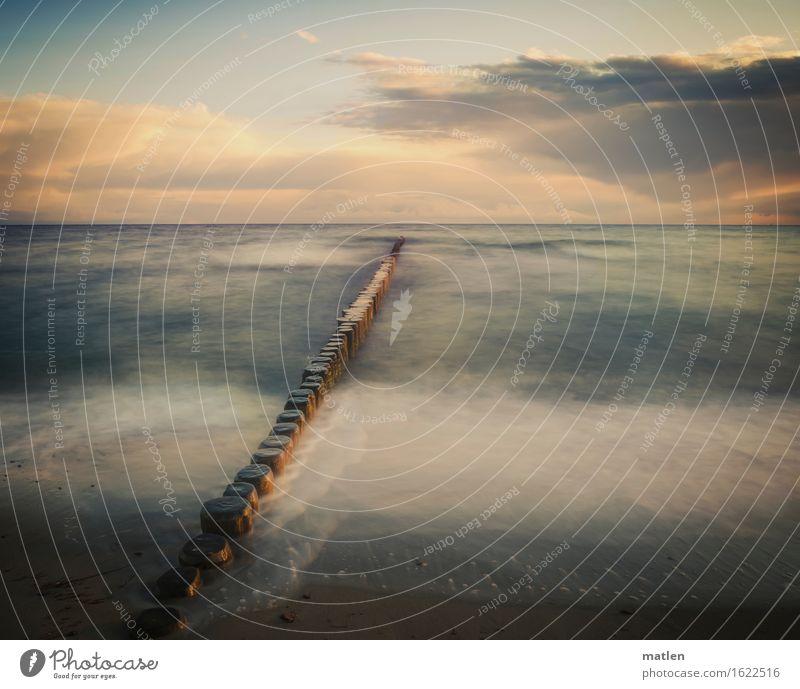 ostwärts Himmel Wolken Horizont Sonnenaufgang Sonnenuntergang Frühling Wetter Schönes Wetter Küste Strand Ostsee Menschenleer ästhetisch blau braun orange weiß