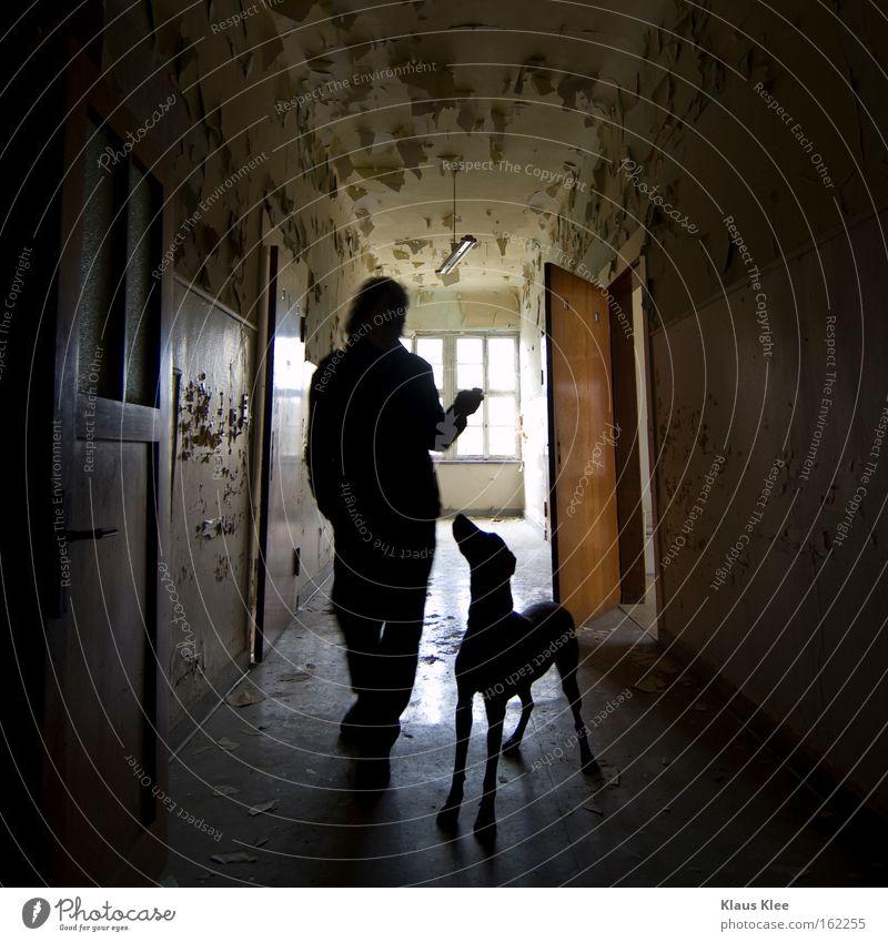 MY TRIP OVER 50 METERS ::::::. Hund Mann Silhouette Gang Abrissgebäude alt Mensch Vertrauen Zuneigung Liebe Partnerschaft einheitlich Tierliebe Sozialer Dienst