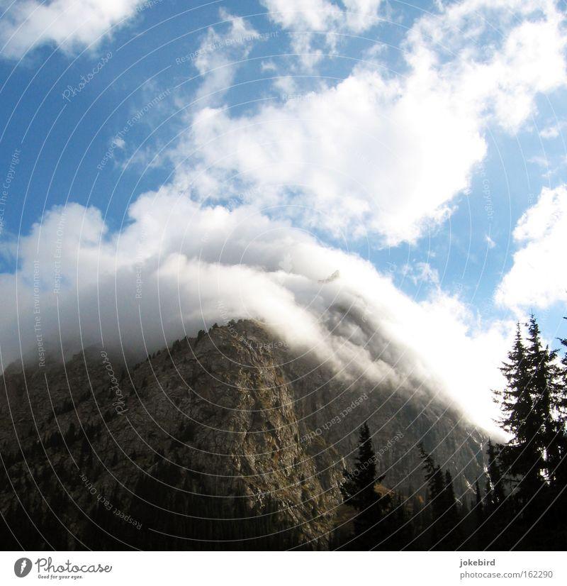 Der Berg brennt Berge u. Gebirge Klettern Bergsteigen Luft Himmel Wolken Baum Wald Felsen Gipfel wandern hoch oben weich blau grau weiß Kirgisistan Asien