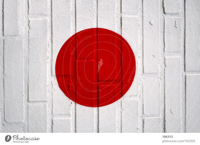 Fotonummer 117161 rot Kreis Wand Stein Fahne Japan Punkt Farbe Farbstoff Zeichen weiß rund Graffiti Wandmalereien