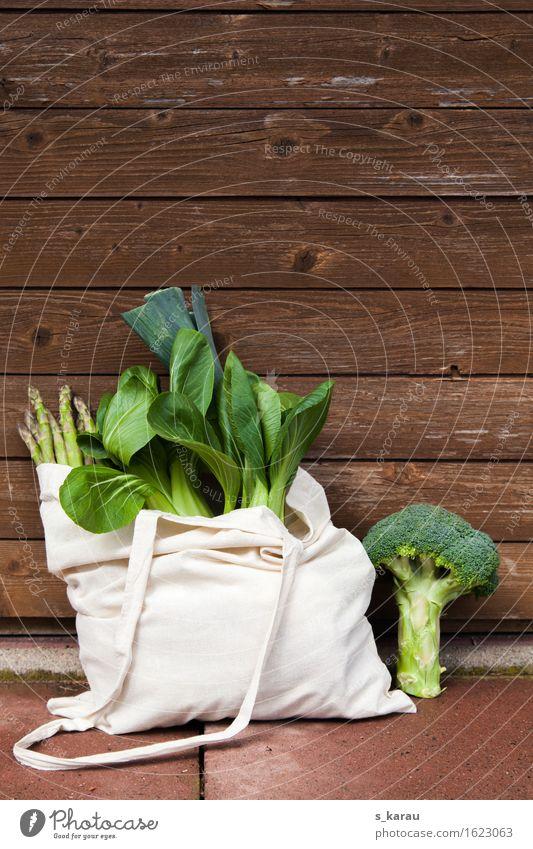 Grünes Gemüse Lebensmittel Ernährung Bioprodukte Vegetarische Ernährung Diät Gesundheit Gesunde Ernährung frisch genießen kaufen Tasche Pak Choy Brokkoli