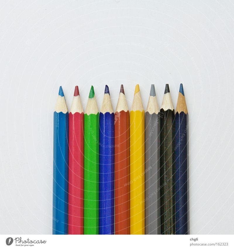 Bunstiftarchitektur weiß grün blau rot schwarz gelb Farbe grau braun Kunst Kultur Spitze Schreibstift Reihe zeichnen mehrfarbig