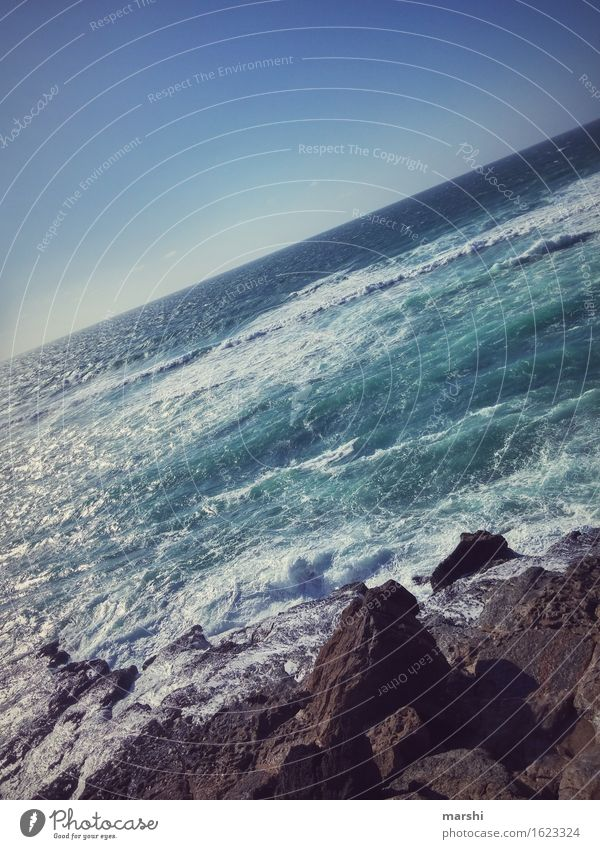 Salz auf meiner Haut II Ferien & Urlaub & Reisen blau Meer Erholung Ferne Strand Reisefotografie Küste Süden Portugal Klippe Atlantik salzig