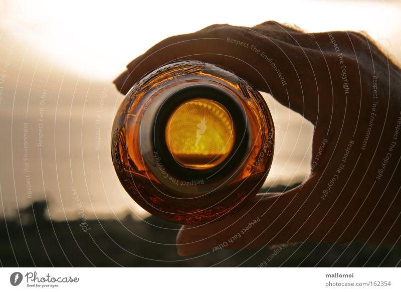 was erlauben strunz Getränk trinken Alkohol Bier Lifestyle Freude Sommer Hand Finger dehydrieren Durst Alkoholsucht Drogensucht Bierflasche leer Sonnenuntergang