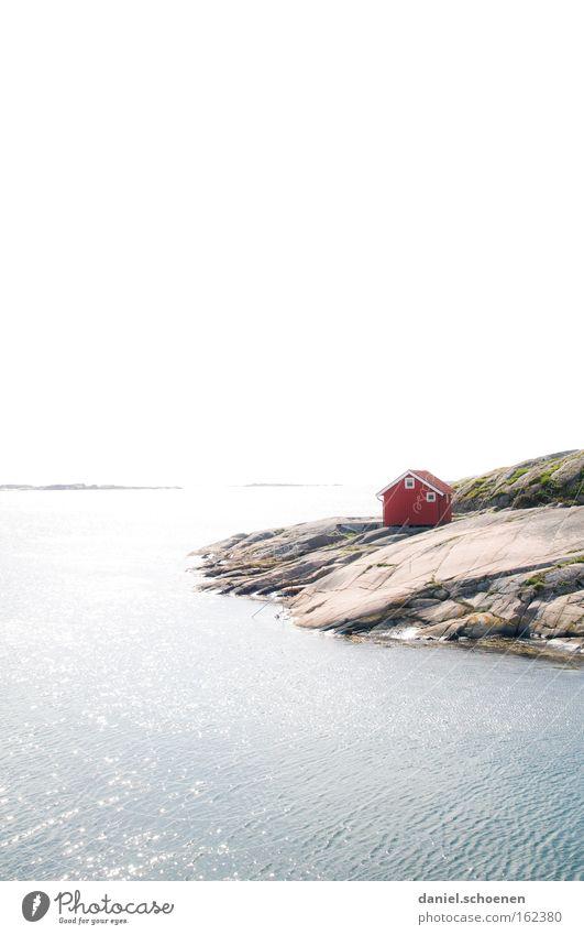 Hüttchen am Meer Wasser Himmel Sonne rot Sommer Strand Haus Farbe Holz Farbstoff Küste Wetter Horizont Hütte Schweden