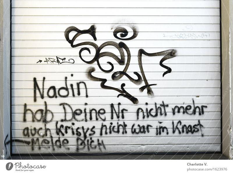 Leipziger Königskinder Garage Garagentor Metall Zeichen Schriftzeichen Ornament Graffiti Linie Pfeil dreckig Klischee trashig Stadt grau schwarz Gefühle Liebe