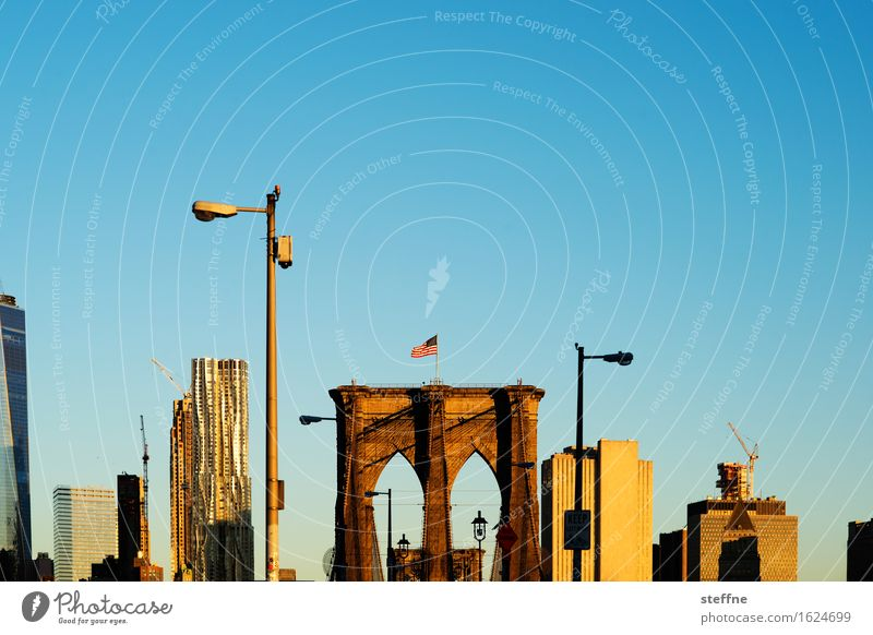 New York City Sonnenaufgang Sonnenuntergang Herbst Schönes Wetter Stadt Brooklyn Bridge Skyline Manhattan Laterne Morgen Farbfoto Außenaufnahme