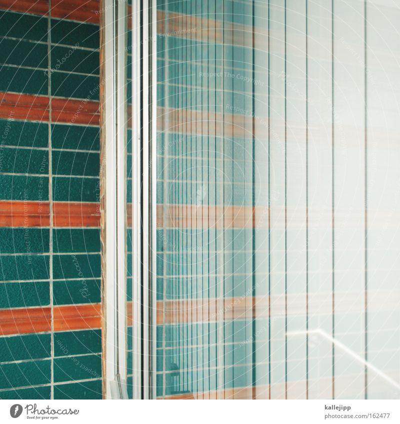 house Glas Fensterscheibe Scheibe Reflexion & Spiegelung abstrakt grün orange Lamelle Lamellenjalousie Nachbar Fliesen u. Kacheln Raum Außenaufnahme