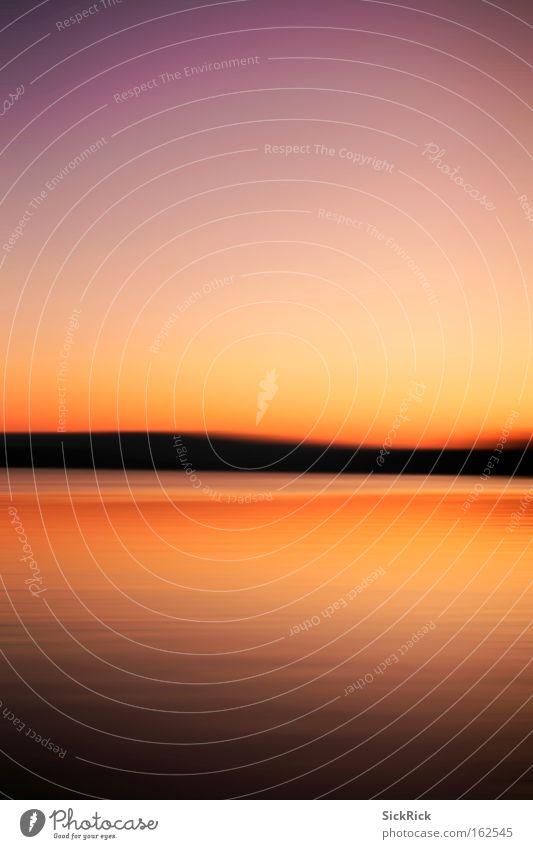 End Sonnenuntergang Wasser Himmel rot Sommer ruhig gelb Farbe See Ende Dynamik Schemata Witten