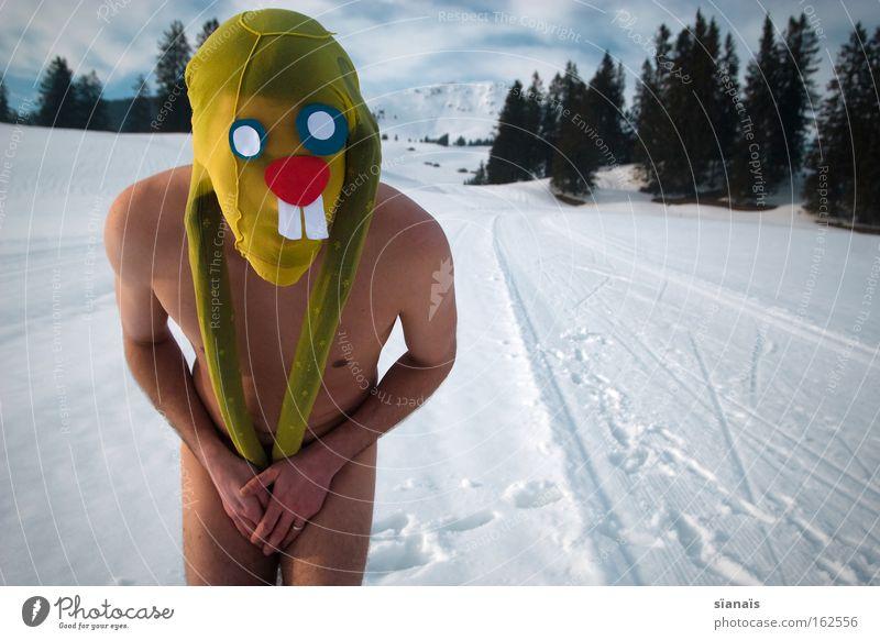 eier verstecken Ostern Osterhase Maske verkleiden Hase & Kaninchen Strumpfhose Surrealismus Comic lustig verrückt Schnee Alpen nackt Schüchternheit Säugetier