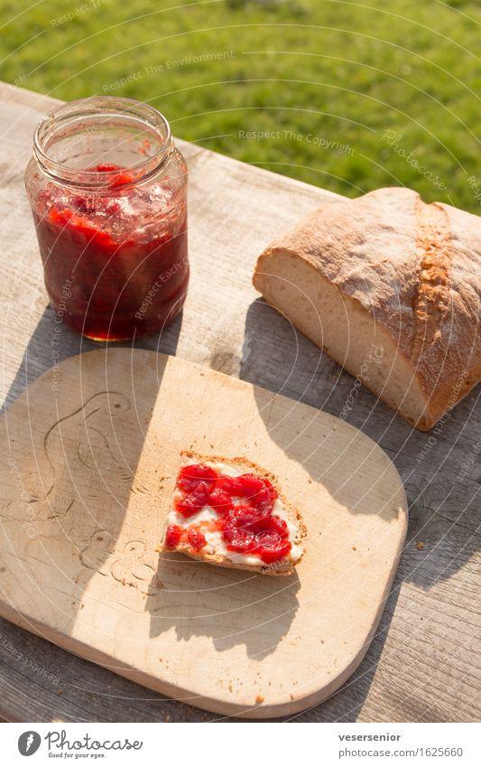 fruehstuecksbrot Sommer ruhig Lebensmittel Zufriedenheit Idylle Ernährung genießen einfach Pause lecker Frühstück Vorfreude Brot Schneidebrett bescheiden