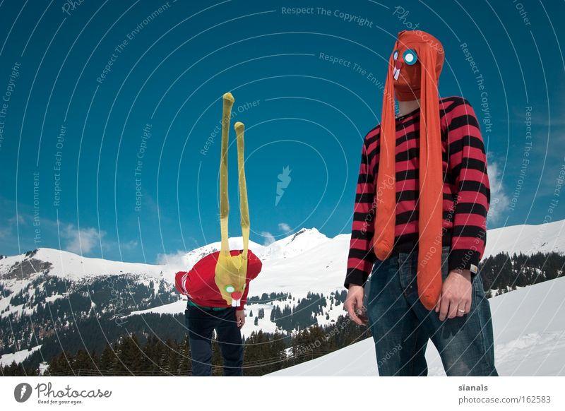 raving rabbits Himmel Schnee Berge u. Gebirge lustig verrückt Ostern Maske Karneval Alpen Mensch Strumpfhose Surrealismus Hase & Kaninchen Comic Humor