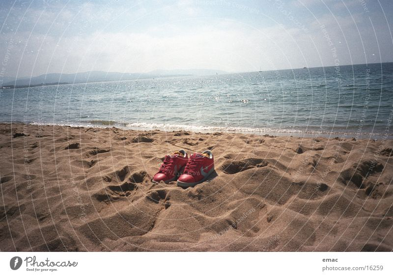 schuhe Wasser Himmel Meer rot Strand Sand Schuhe Freizeit & Hobby Cannes