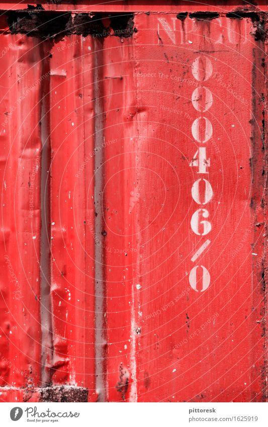 Rotes Eisen Kunst Kunstwerk ästhetisch rot Ziffern & Zahlen Container Stahl Rost massiv mehrfarbig hart Farbfoto Außenaufnahme Nahaufnahme Detailaufnahme