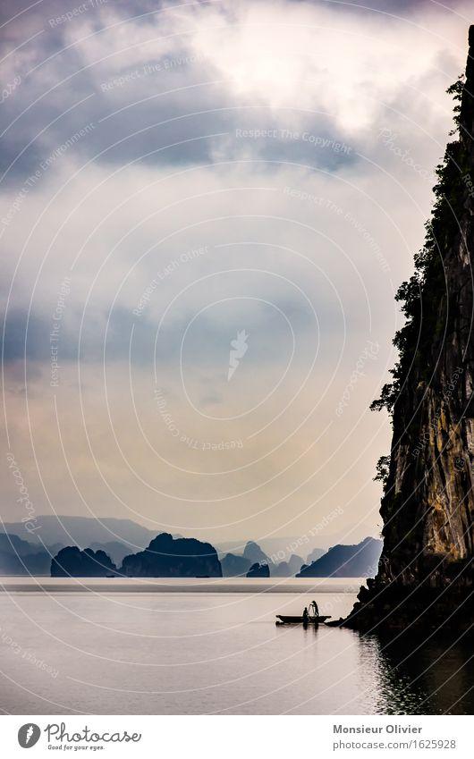 The early bird catches the fish, Ha Long Bay, Vietnam, 2013 Landschaft Wasser Himmel Wolken Sonnenaufgang Sonnenuntergang Bucht Meer Halong Bay Asien Bootsfahrt