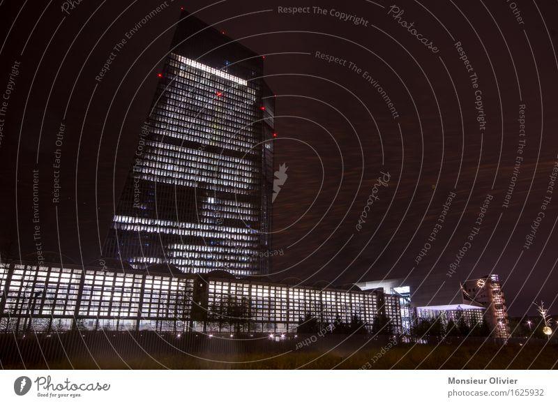 Europäische Zentralbank, Frankfurt, Germany, 2016 Frankfurt am Main Deutschland Stadtzentrum Skyline Hochhaus Architektur kalt schwarz Macht Nachtaufnahme ecz