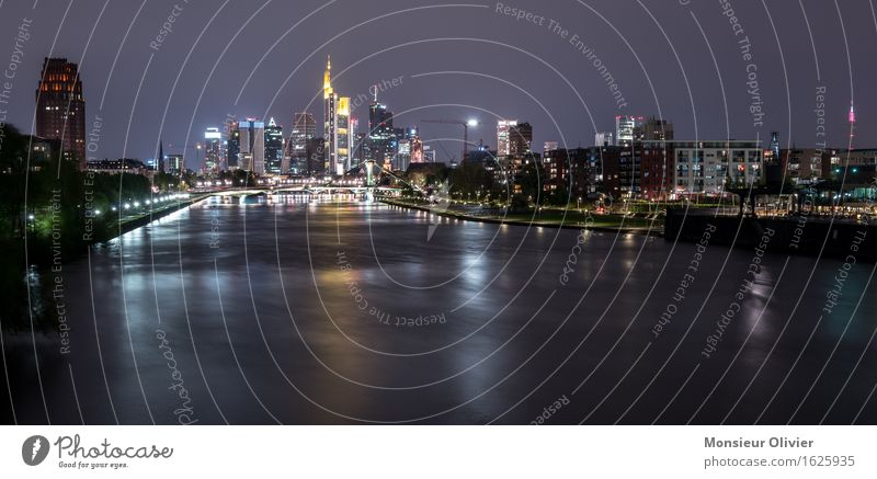 Mainhattan Skyline, Frankfurt, Germany, 2016 Fluss Stadt bevölkert Hochhaus dunkel blau schwarz Frankfurt am Main Nachtaufnahme long exposure Langzeitbelichtung