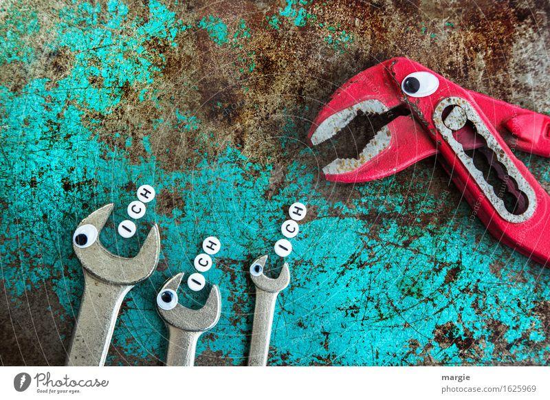 """Wer möchte? Eine Zange und drei Schraubenschlüssel mit Augen. Jeder der Schraubenschlüssel mit dem Wort """"ich"""" Kindererziehung Schule lernen Berufsausbildung"""