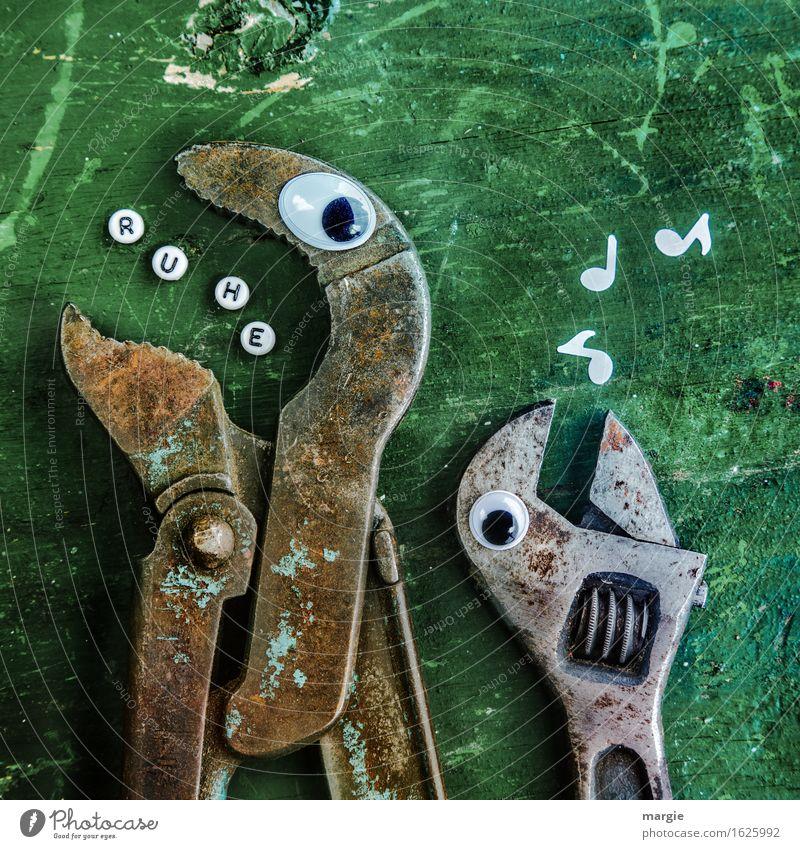 Ruhe! Arbeit & Erwerbstätigkeit Beruf Handwerker Arbeitsplatz Baustelle Dienstleistungsgewerbe sprechen Werkzeug Tier 2 grün singen Pfeifen Buchstaben ruhig