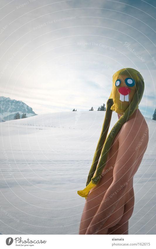Mein Name ist Hase Ostern Osterhase Maske verkleiden Hase & Kaninchen Strumpfhose Surrealismus Comic lustig verrückt Schnee Alpen nackt Hinterteil Gesäß
