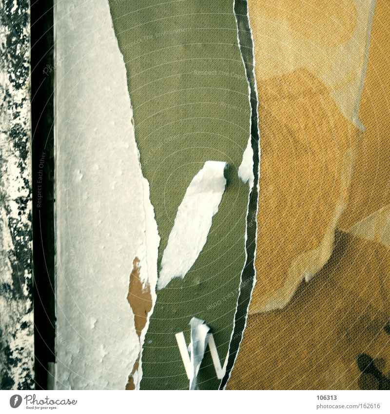 Fotonummer 117094 weiß Wand Wellen Papier kaputt rund Müll abstrakt Tapete Riss Zerstörung Plakat graphisch Demontage abblättern Fetzen