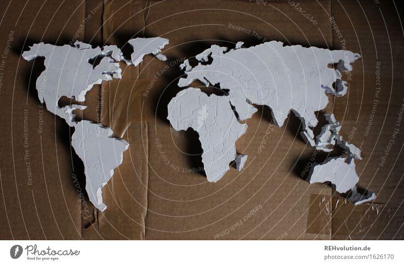 Weltkarte Ferien & Urlaub & Reisen Umwelt natürlich außergewöhnlich grau braun Erde Kreativität gefährlich Europa einzigartig Idee Abenteuer Asien Afrika