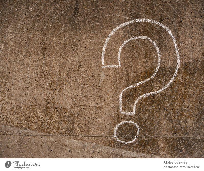 Fragezeichen Beton Zeichen Schriftzeichen grau Idee Inspiration Kreativität Irritation Rätsel Fragen Zweifel Kreide gemalt Zeichnung Farbfoto Gedeckte Farben
