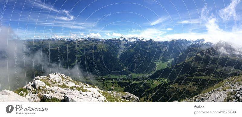 alpine mountain chain panorama Himmel Natur Ferien & Urlaub & Reisen Sommer Sonne Landschaft Berge u. Gebirge Leben Sport Freiheit Stein Felsen Horizont Luft