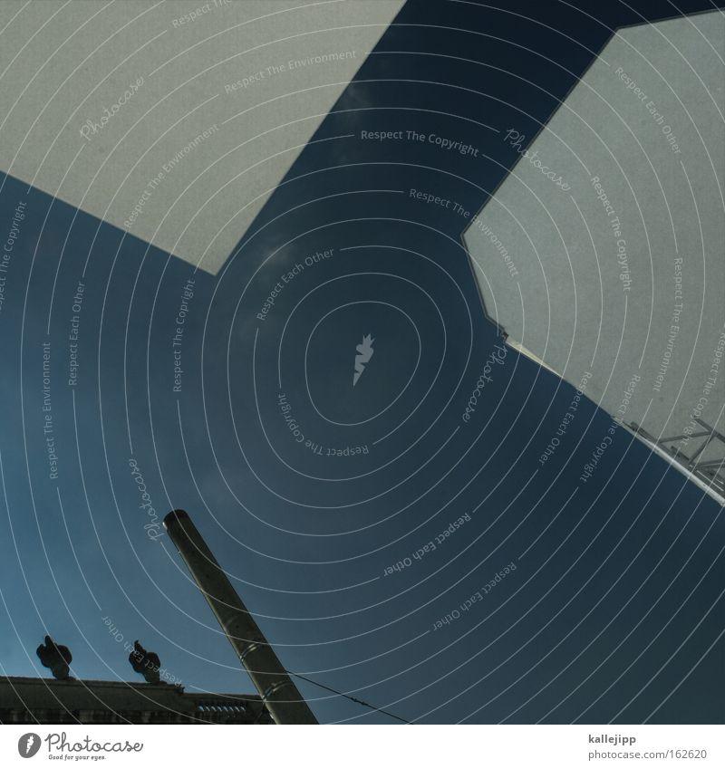ich schneid dir ein stück himmel aus Silhouette weiß schwarz Haus Wand Fassade Schornstein Industriefotografie Himmel Sommer Architektur