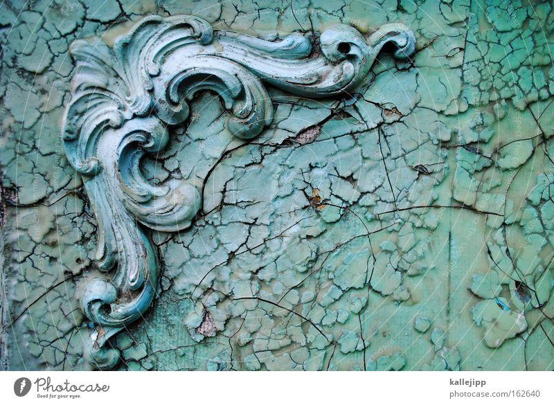 patina Schnörkel Barock grün Dekoration & Verzierung Pflanze Schleife festlich Burg oder Schloss Vergangenheit antik Riss abblättern fürstlich Architektur