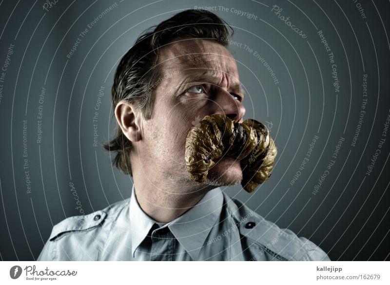 knack und back Mensch Mann Mund Porträt Gesicht Hemd Bart Frühstück Comic Humor Backwaren Witz Croissant Lebensmittel Kindermund