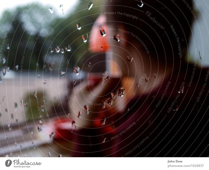 teatime Mensch Erholung Fenster Gefühle Stimmung Wohnung maskulin Regen Häusliches Leben warten Aussicht genießen nass Pause Neugier Schutz